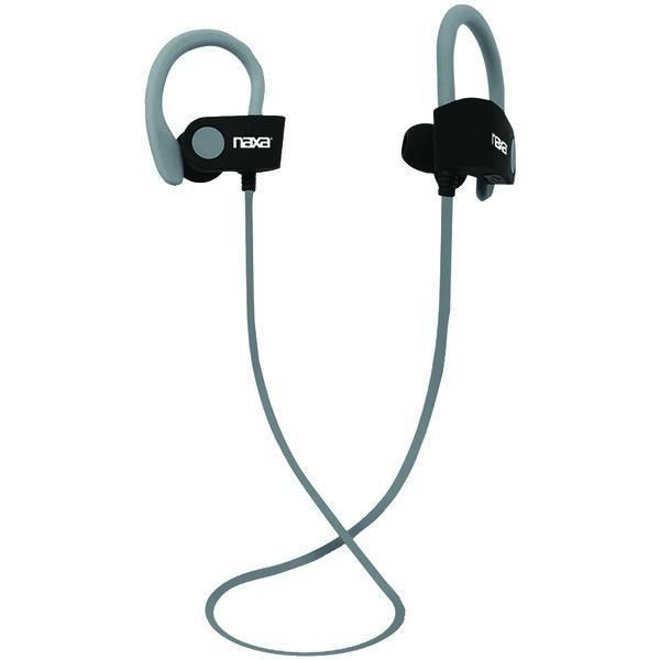 NAXA NE-961 GRAY PERFORMANCE Bluetooth(R) Wireless Sport Earbuds with Ear Hook (Gray)