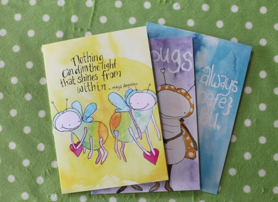 Set of 3 cards printed from original by LilyandGingerCandles