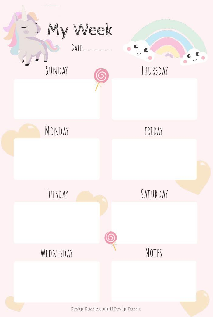 photograph about Cute Weekly Planner Printable called Unicorn Planner Totally free Printable Printables Every day planner