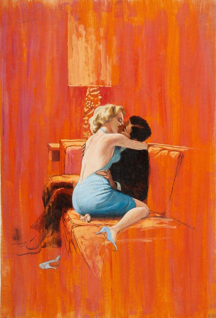 """ilustração para o romance """"Black Opium"""" (1958), de Claude Farrèle – uma das obras-primas de Robert A. Maguire.  Veja também: http://semioticas1.blogspot.com.br/2013/06/silencio-de-hopper.html  ."""