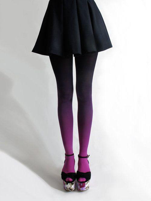 DIY: Ombre Tights. Tutorials here http://www.brit.co/diy-ombre-tights/ and here http://www.pretty-ditty.blogspot.com/2012/05/diy-ombre-tights.html