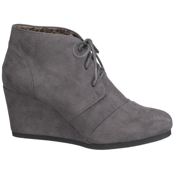 maurices Penny Lace-Up Wedge In Gray ($34) ❤ liked on Polyvore featuring shoes, boots, grey, wedges shoes, lace up shoes, gray wedge shoes, gray shoes and mid heel shoes