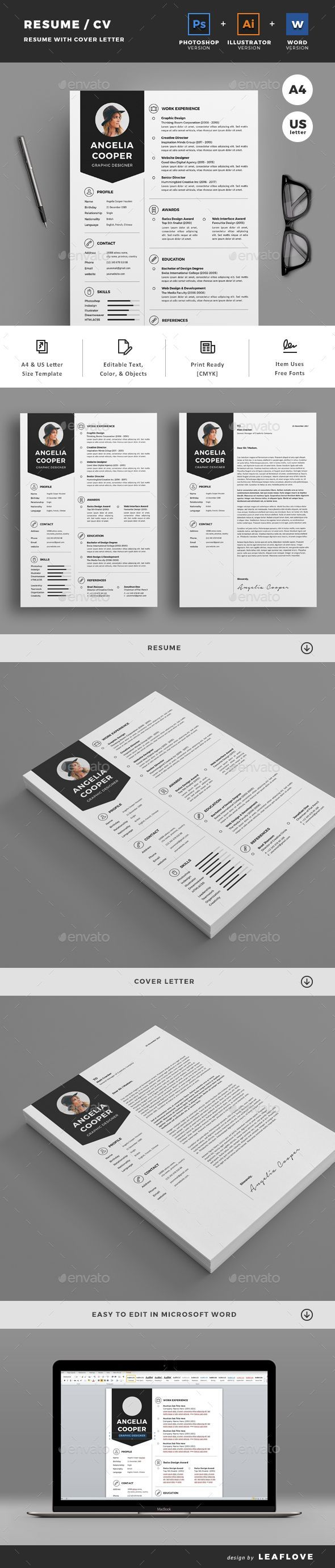 Resume by LeafLove Resume / CV. Professional, clean, & creative resume template designed to make a good impression. ................................