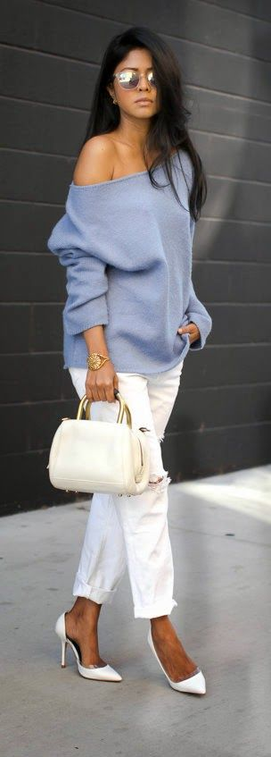 SLATE BLUE - White Destroyed Skinny Jeans with One Shoulder State Blue Oversize Sweater and High Pumps