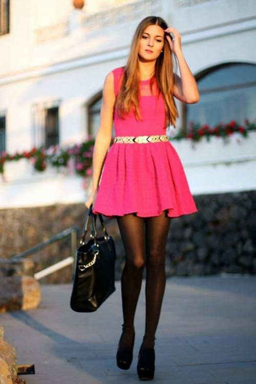 Pink Fit Amp Flare Minidress With Black Tights Street