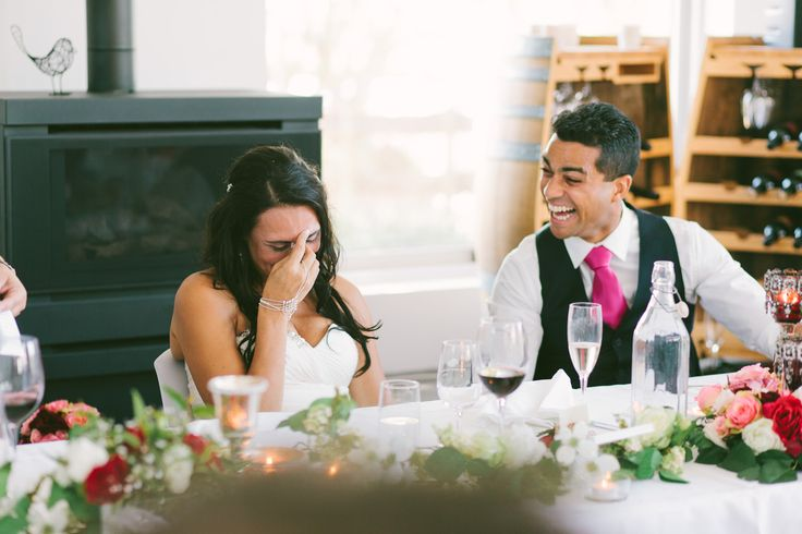 That reaction when the matron of honour tells everyone what the bride said about the groom after their first date. So funny + sweet!
