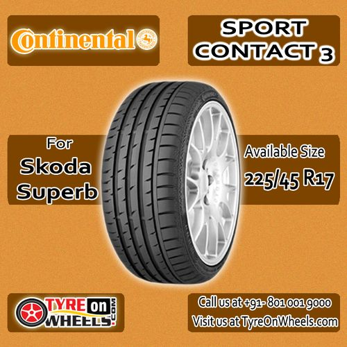 Buy Skoda Superb Tyres Online of Continental Sport Contact 3 Tubeless Tyres and get fitted with Mobile Tyre Fitting Vans at your doorstep at Guaranteed Low Prices buy now at http://www.tyreonwheels.com/tyres/Continental/SPORTCONTACT-3/1146