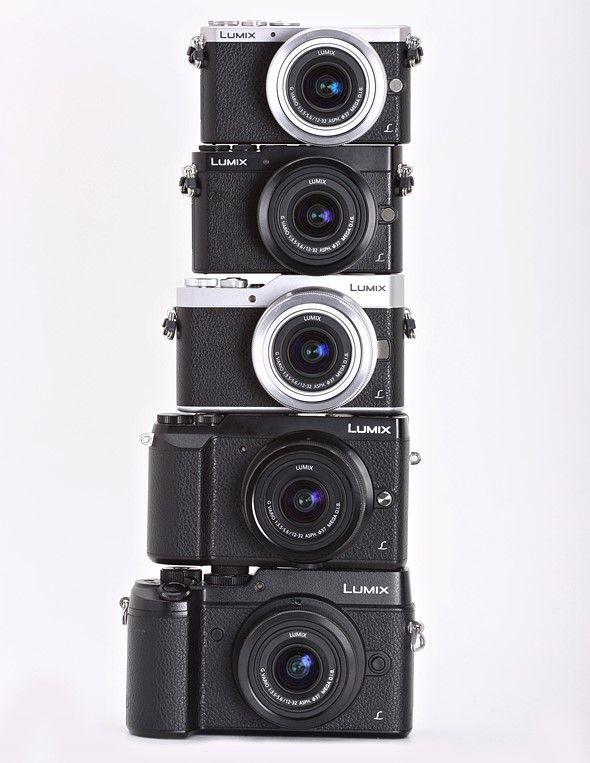 Look at this teetering stack of Panasonic cameras