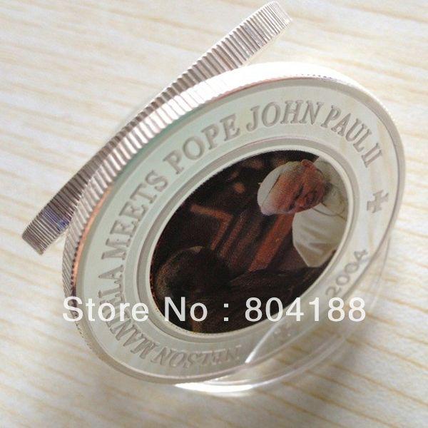 Сомалийская Республика 25 Шиллингов DHL Бесплатная Доставка 50 шт./лот Нельсон Мандела Отвечает Папа Иоанн Павел II 1 унц. Посеребренные монеты