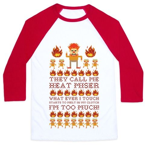 Perfect for your next ugly Christmas sweater party. This design features an illustration of the Snow Miser and his minions and the lyrics 'They call me Heat Miser what ever I starts to melt in my clutch. I'm too much!'