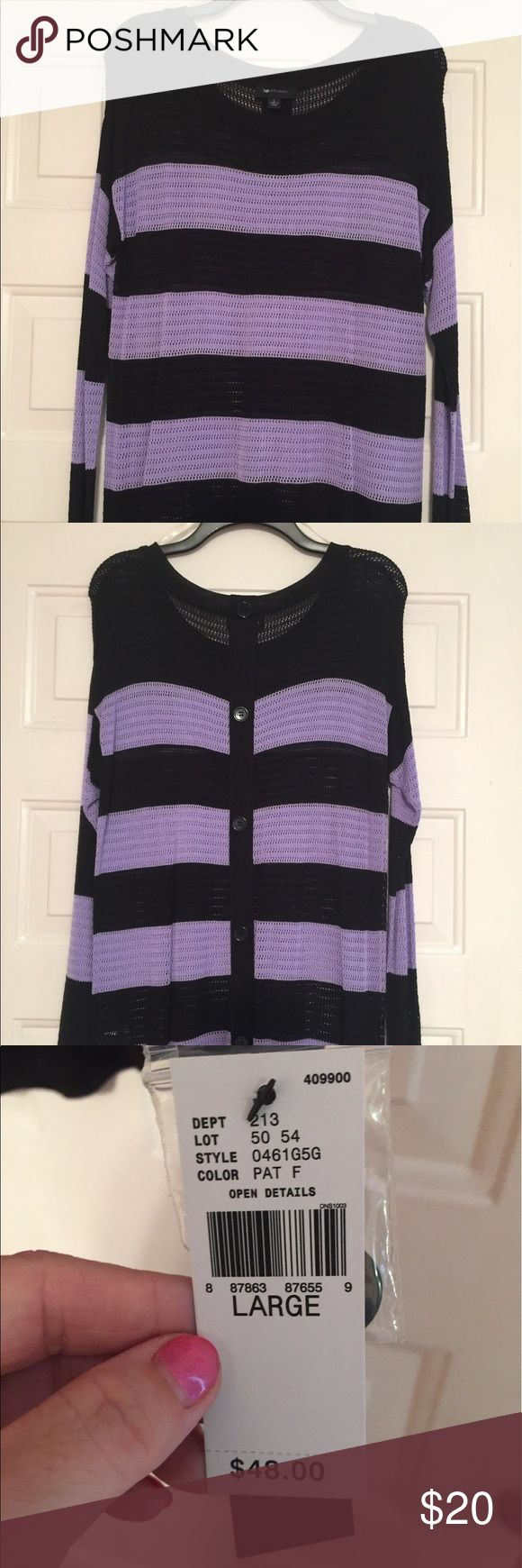 Black and purple long-sleeve top Black and purple long-sleeve top.  Smoke-free home. AB Studio Tops Blouses