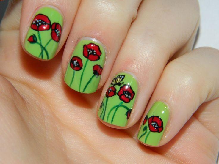 Inspiracją do wykonania tego zdobienia była piękna, zielona łąka pełna maków i różnobarwnych motyli.