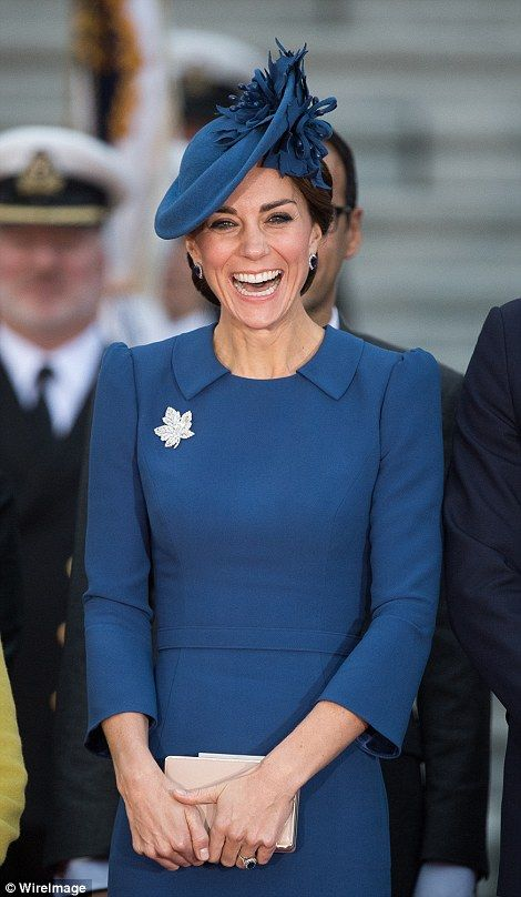 The Duchess was wearing a blue Jenny Packham dress...