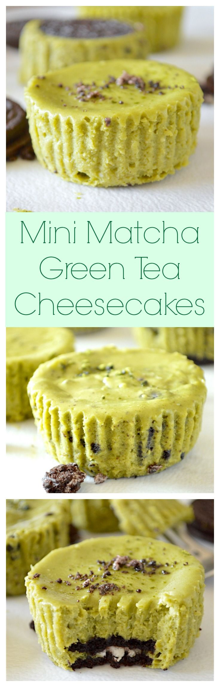 Creamy and sweet, mini matcha green tea cheesecakes with an Oreo cookie crust and packed with crushed Oreos inside!