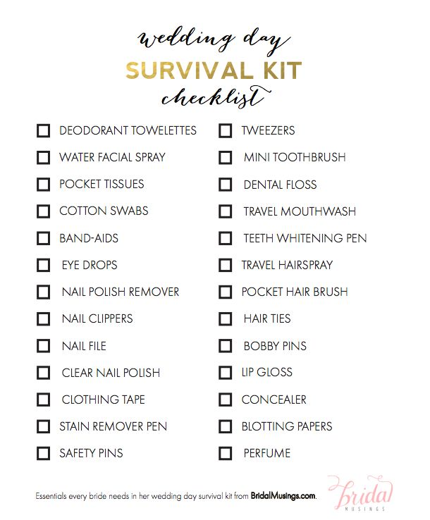 Free download: wedding day survival kit checklist