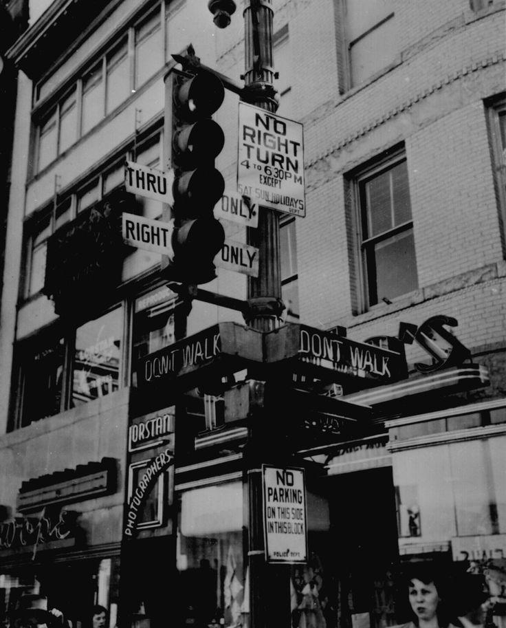 """Walk,"" ""Don't Walk,"" ""No Right Turn,"" ""Thru Only"": a complicated traffic signal to uncomplicate Washington, D.C., traffic, 1949."