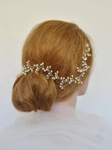 Perla bebé de respiración pelo vid perla nupcial tocado pelo