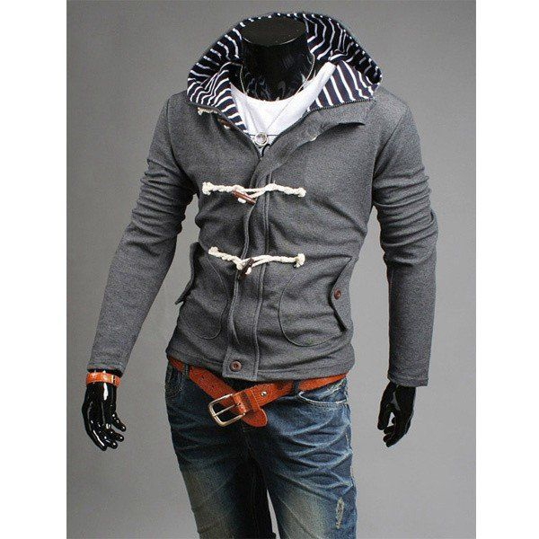 Cozy Men's Fall Winter Cardigan Unqiue Button Casual Hooded Sweater Overcoat - NewChic