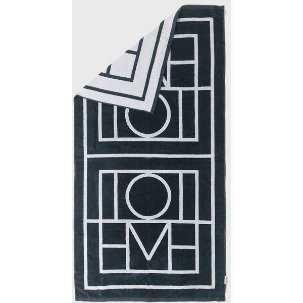 Totême Biarritz Beach Towel (€120) ❤ liked on Polyvore featuring home, bed & bath, bath, beach towels, jacquard beach towel, oversized beach towels and monogrammed beach towels
