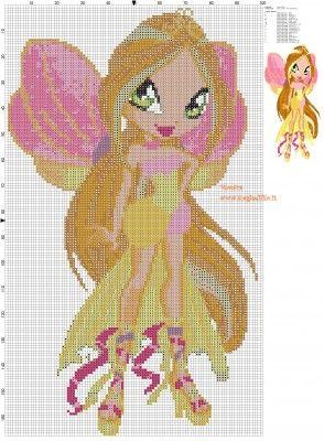 Schema punto croce piccola Flora (Winx) 100x167 19 colori.jpg