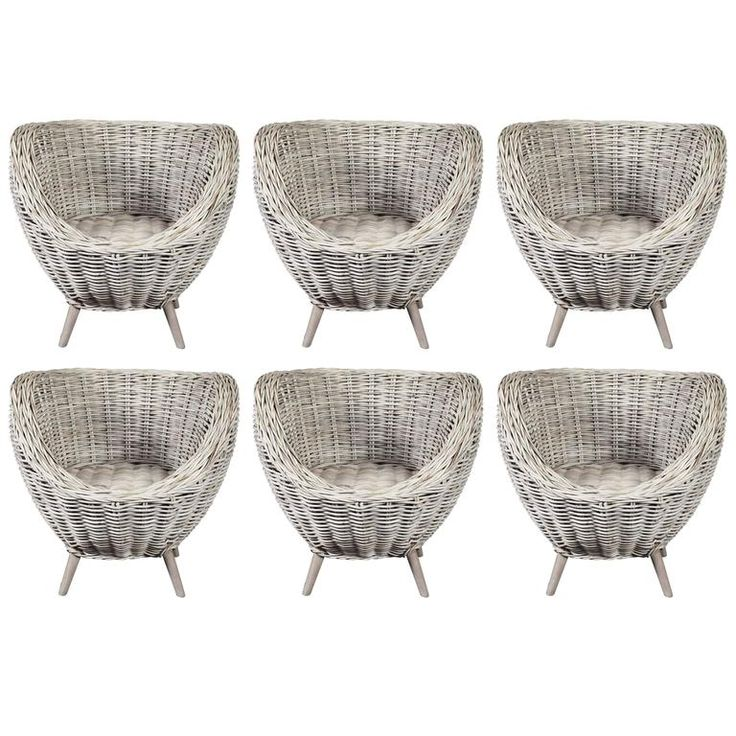 Set Of Wicker Egg Shape Chairs