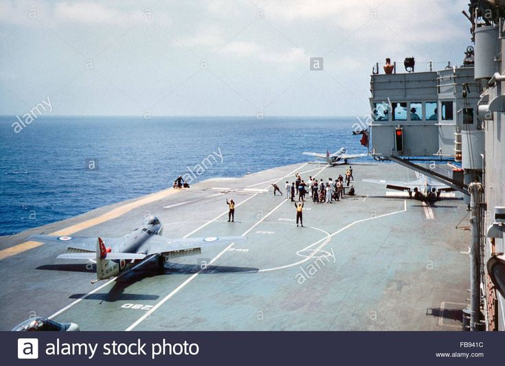 Download this stock image: HMS Eagle Seahawk preparing for takeoff - FB941C from Alamy's library of millions of high resolution stock photos, illustrations and vectors.