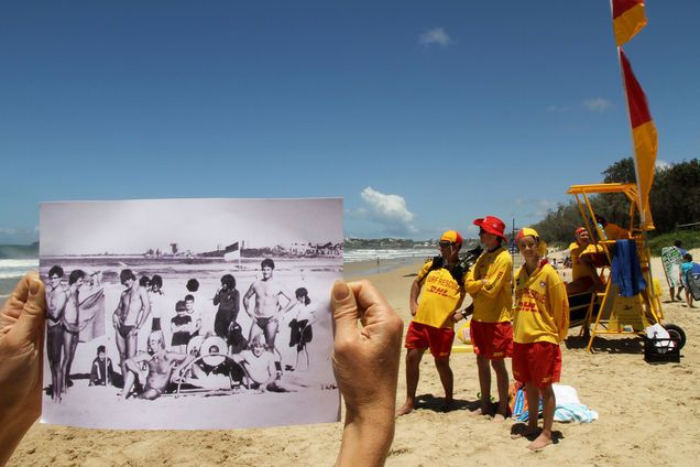 Now and Then Maroochydore lifesavers by Janel Shorthouse