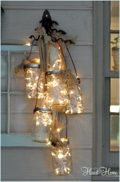 I have Mason jars, white lights and burlap from leftover wedding decor!