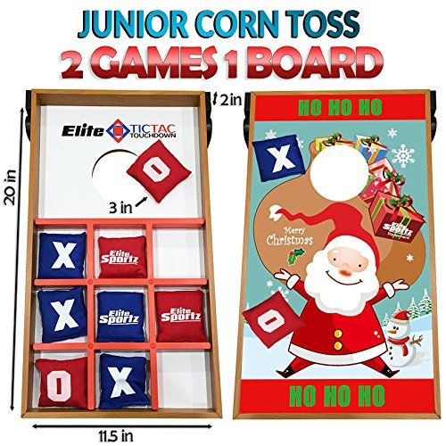 Junior Cornhole Bean Bag Toss Game - Great for Outside Yard Kids Games - Tic Tac Toe and Cornhole Party Games for Kids. (Santa) -- Details can be found by clicking on the image.