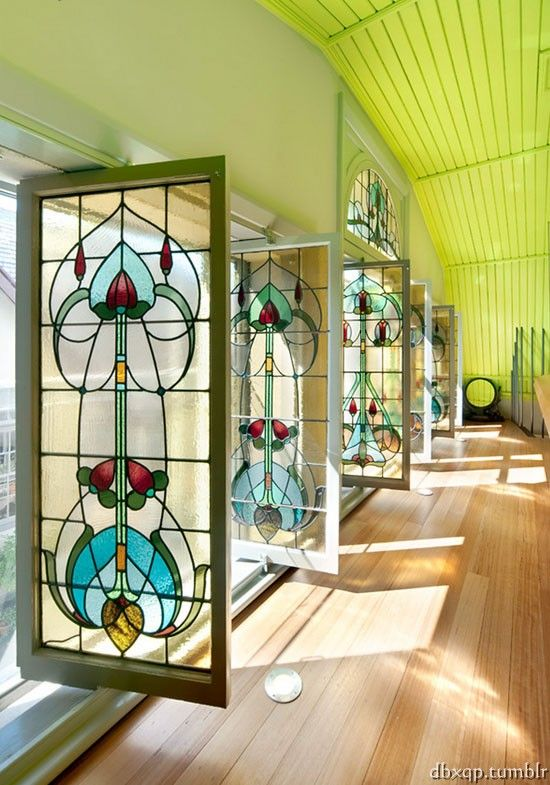 Breathtaking stained glass swing doors/ windows in music room