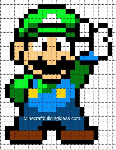 grille pour crocheter un pixel plaid. Adapter les grannys. http://www.minecraftpixelarttemplates.com/2012/08/luigi.html