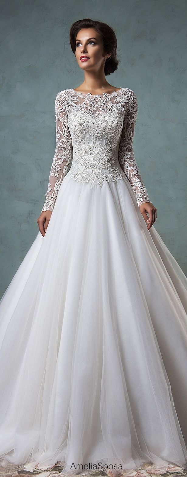 Amelia Sposa Wedding Dress 2016; Not a huge fan of the ball gown but I like the neck line and sleeves