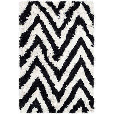 Mercer41 Stellan Ivory / Black Shag Rug Rug Size: