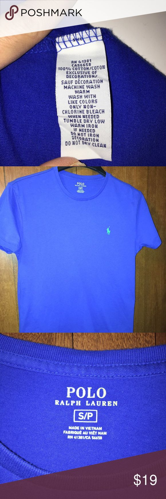 "Ralph Lauren Polo short sleeved t-shirt Men's Royal Blue short sleeve Ralph Lauren Polo t-shirt.  100% Cotton.  In very good used condition. All measurements are within 1/2"" accurate.  Length 25"". Chest 19"". Polo by Ralph Lauren Tops Tees - Short Sleeve"