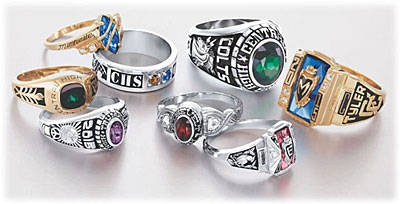 Josten's senior class rings!! I still have mine...