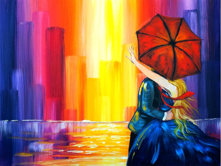 """Lovers kiss city painting Acrylic painting tutorial is easy for beginners but enjoyable for all skill levels. In this Rainy day painting tutorial I will show you how to paint an Abstract City,  how to make reflections in water. You can learn how to paint a couple kissing under s red umbrella. Great for color mixing and dramatic effects with acrylic paint. Learn about Liquid Glazing and also how to make city buildings with 1"""" brush. I will show you how to draw the couple but there is also a…"""