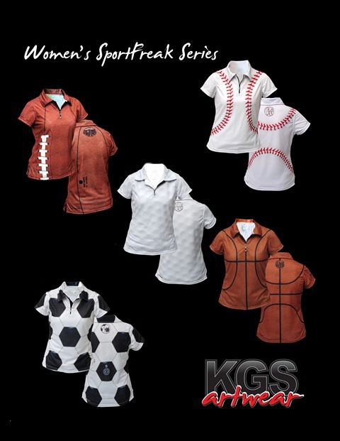 Women's SportFreak Series from KGS Artwear (store.kgsartwear.com) #Football #Baseball #Golf #Basketball #Soccer