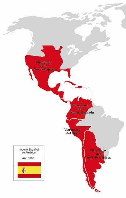 Imperio español en América (año 1800), poco antes de la invasión de Napoleón en España