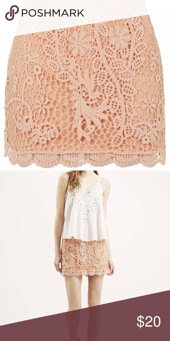 Topshop Coral Lace Crochet Mini Skirt Size4 US0-2 Purchased at Nordstrom department store. The skirt is super cute and has elastic waist. The lace is made of great quality and it is not see through. It is perfect for dressing up or down. Message me if you have any questions. The item is in excellent condition.  The crochet skirt takes a chic approach to pastel colours with this playful, scallop style. Comes with an elasticated waist for a comfy fit. 100% Cotton. Machine wash. Topshop Skirts…