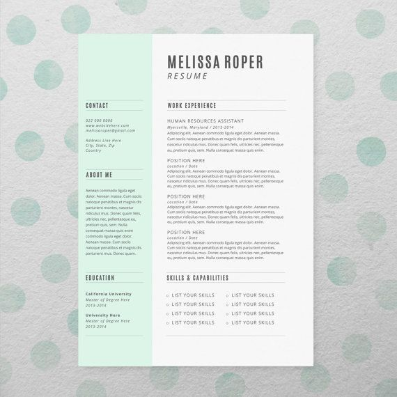 #CV Design + Cover Letter, INSTANT DOWNLOAD, Printable #Resume…