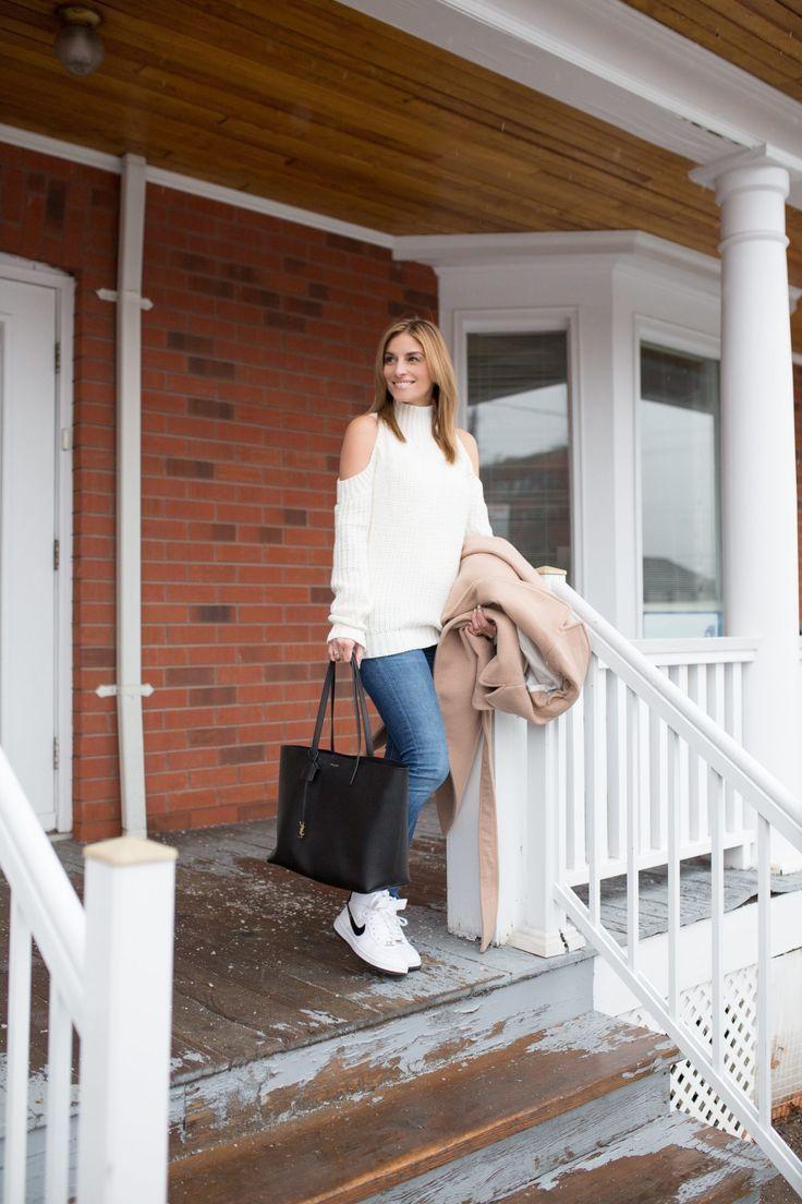 Cold Shoulder Sweater, skinny jeans, Nike Hi Tops, YSL bag