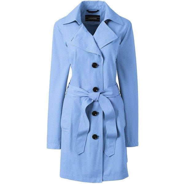 Lands' End Women's Petite Trench Coat - Harbor ($99) ❤ liked on Polyvore featuring outerwear, coats, blue, trench coat, blue trench coat, women's plus size coats, plus size trench coat and lands' end