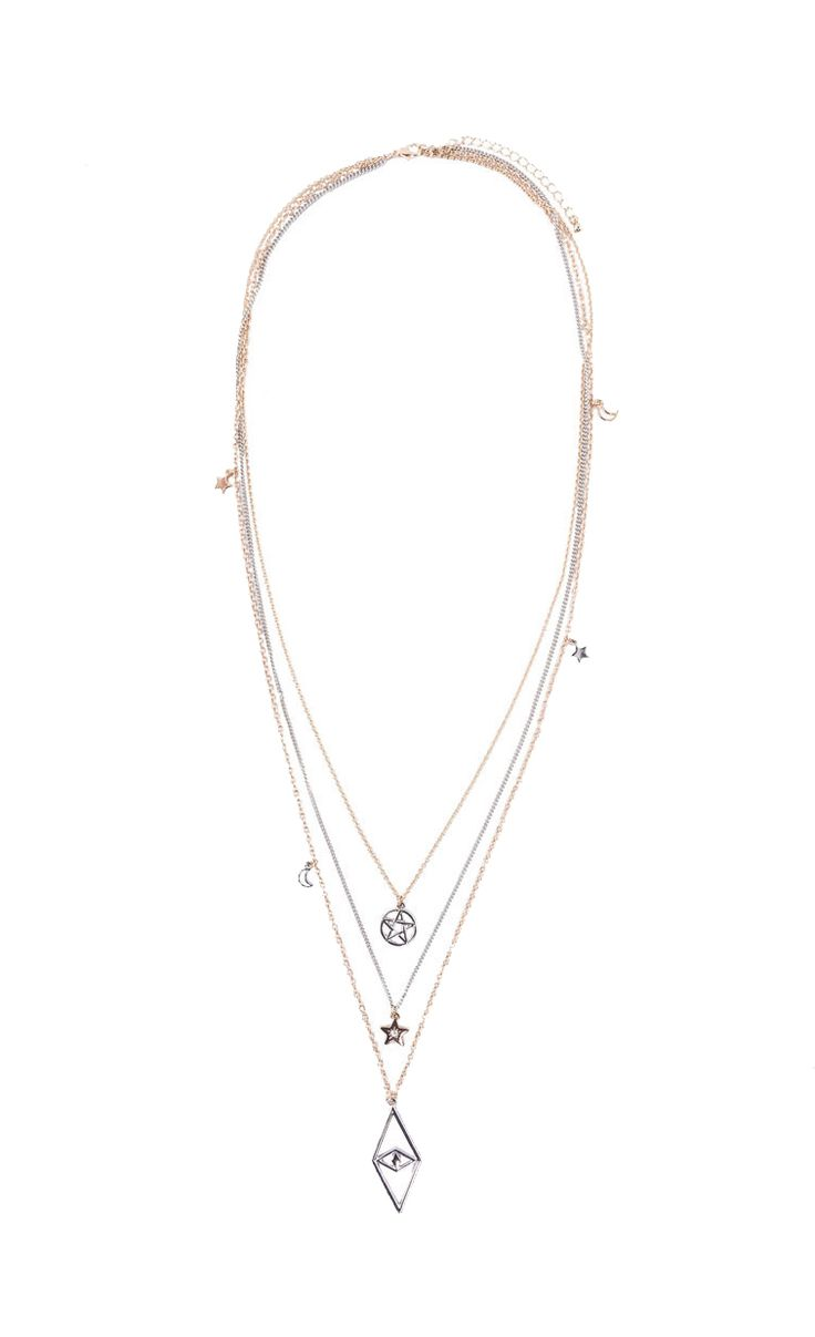 Charm Layered Necklace by New Look. Layer necklace with a combination of silver, gold color, with moon, star charms, adjustable chain, lobster clasp fastening, necklace length 46 cm. Looking rad with this layered necklace. http://www.zocko.com/z/JE9bC