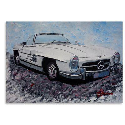 "East Urban Home Mercedes Cabrio' by M Bleichner Original Painting Size: 11"" H x 14"" W"