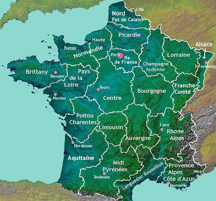 La France Map.Bordeaux Normandy Paris Marseille Rennes Toulouse Grenoble