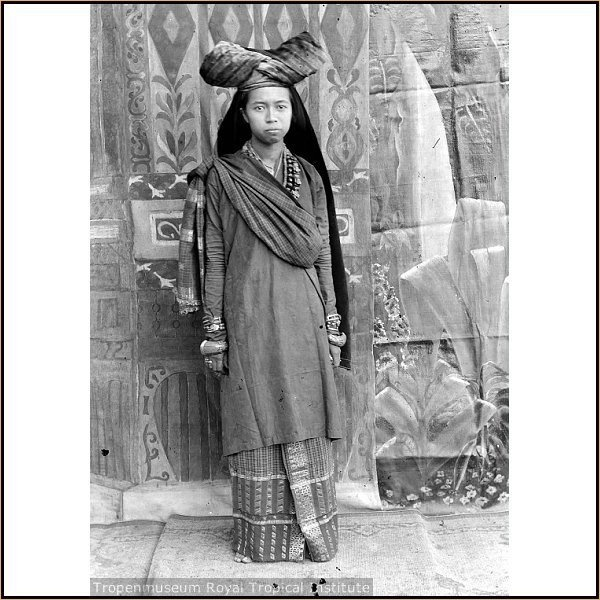 Indonesia, Sumatra. Minangkabau lady from ancient times. Their culture is matrilineal and patriarchal, with property and land passing down from mother to daughter, while religious and political affairs are the responsibility of men (although some women also play important roles in these areas. This custom is calledAdat perpatih in Malaysia and Lareh Bodi Caniago in Indonesia.