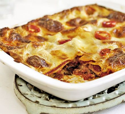BBC good food Roasted vegetable lasagne Try adding roasted onions, celery, butternut squash, courgette, carrots, mushrooms..... also lentils etc. for protein. Also add nutmeg to the white sauce