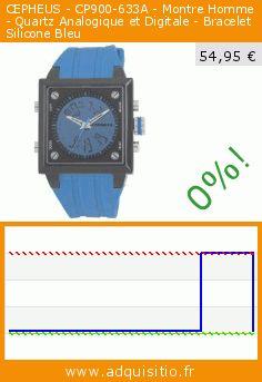 CEPHEUS - CP900-633A - Montre Homme - Quartz Analogique et Digitale - Bracelet Silicone Bleu (Montre). Réduction de 72%! Prix actuel 54,95 €, l'ancien prix était de 199,00 €. https://www.adquisitio.fr/cepheus/cp900-633a-montre-homme