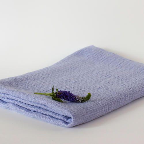 Linen Washed Waffle Bath Towel Pastel Blue