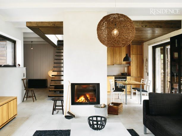 monochrome.: Modern Fireplaces, Living Rooms, Stairs, Clean, Living Spaces, Apartment Styles, Magazines, Bachelor Pads, Woods